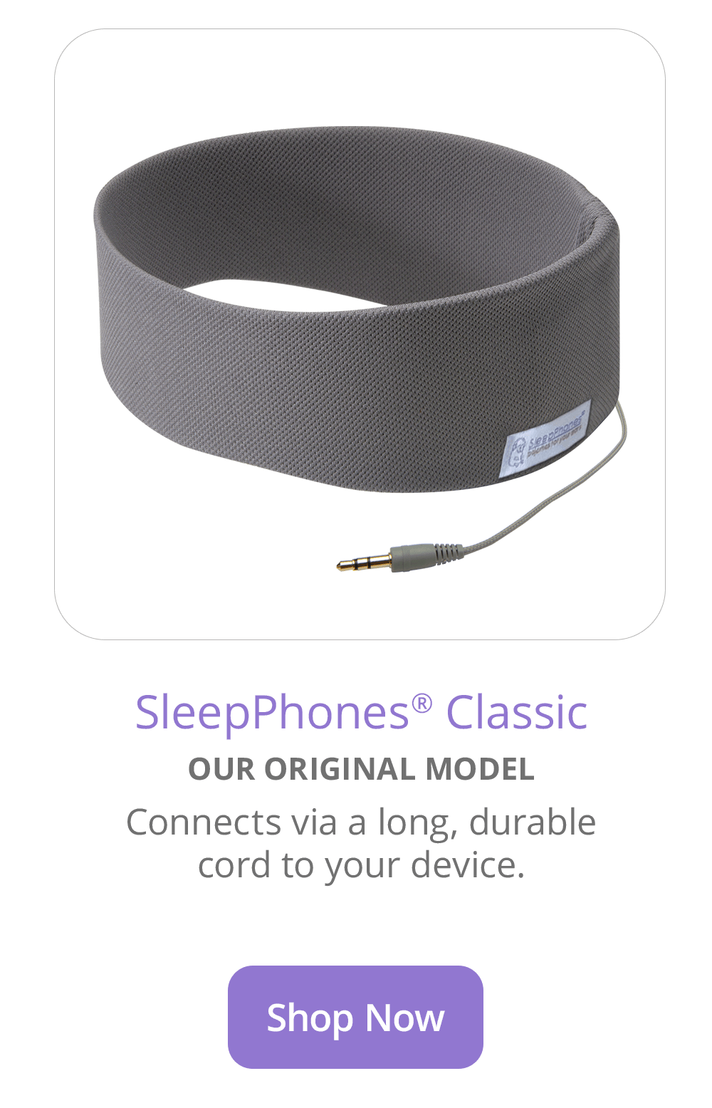 SleepPhones Classic Wired Sleep Headphones in Gray Breeze