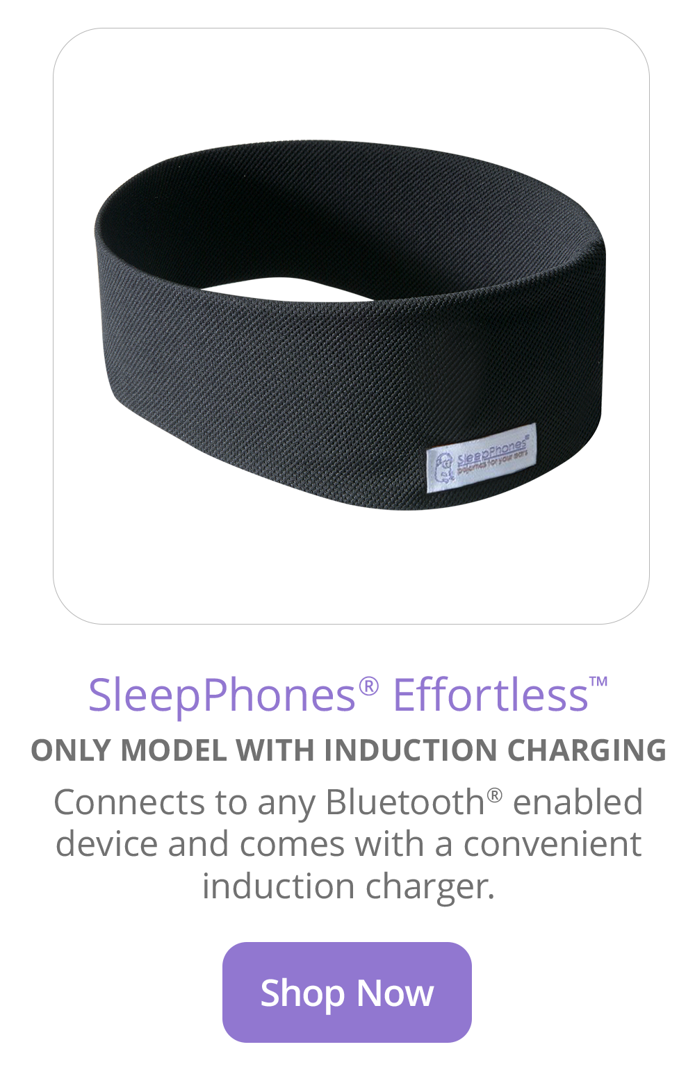 SleepPhones Effortless Sleep Headphones With Wireless Charging In Pitch Black Breeze Fabric